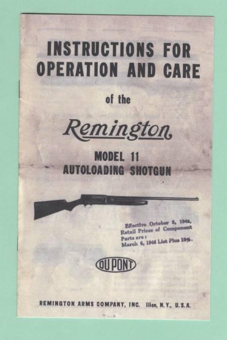 remington model 11 shorgun manual repro for sale at gunauction com rh gunauction com Remington Model 11 Serial Numbers Remington Model 11 Sportsman