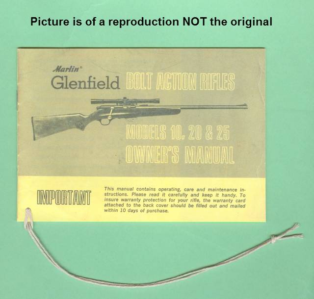 Marlin 10, 20 & 25 Factory Owners Manual R - Picture 1