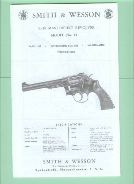 Smith & Wesson Model 14 K-38 Factory Manual Repro - Picture 1