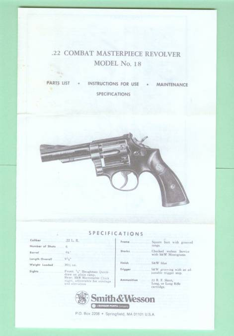 Smith & Wesson Model 18 factory Manual Repro - Picture 1