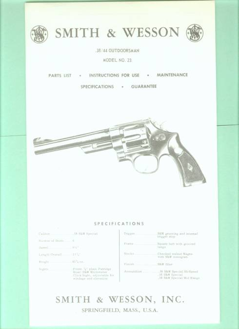 Smith & Wesson Model 23 .38/44 factory Manual Repr - Picture 1