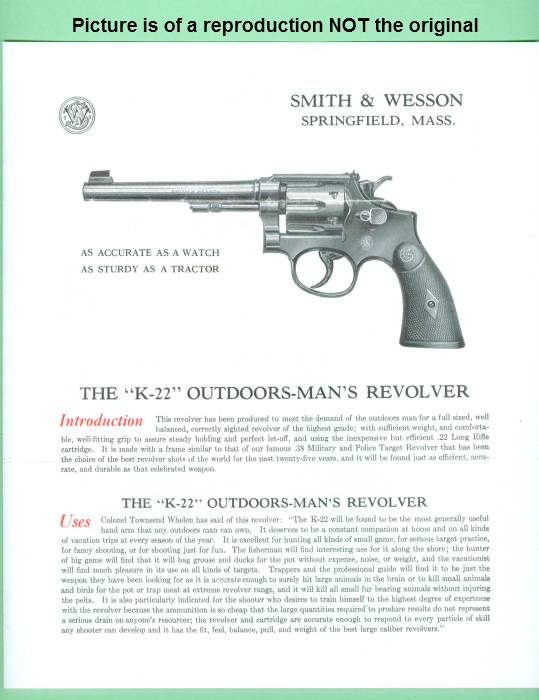 Smith & Wesson K-22 EARLY Sales Brochure Repro - Picture 1