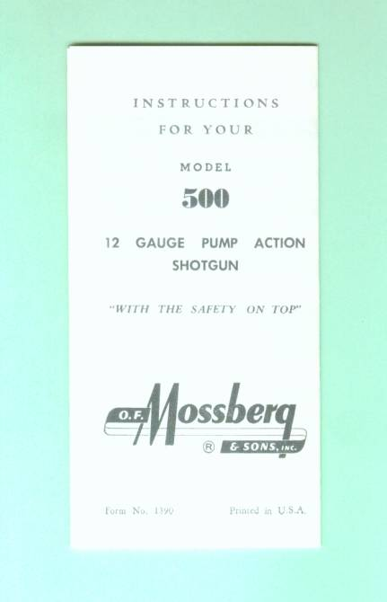 mossberg 500 factory instruction manual sheet repr for