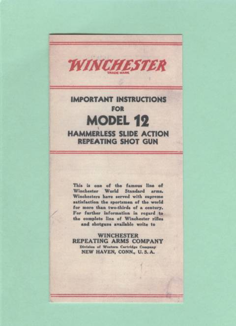 Winchester model 12 manual